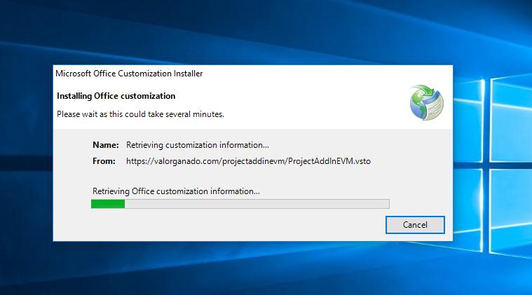 Progress in downloading Project AddIn EVM