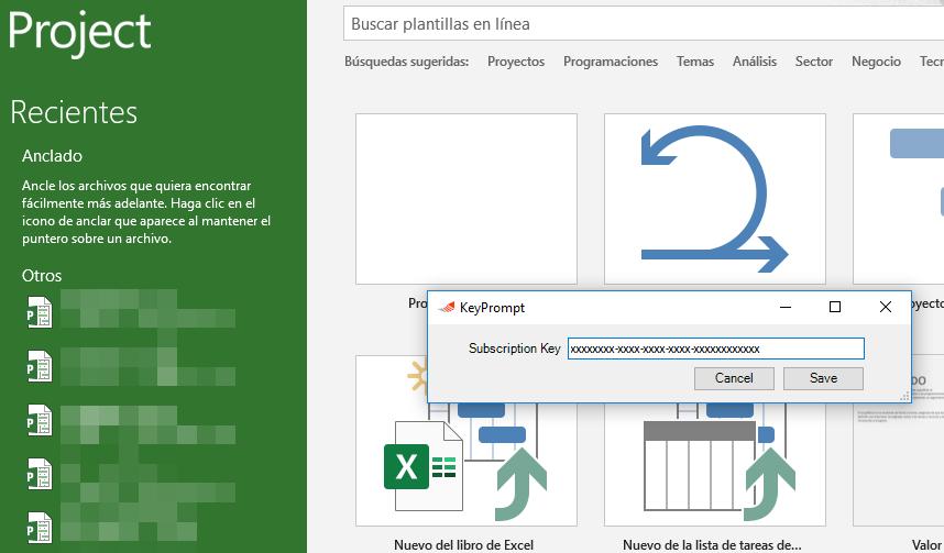 Project AddIn EVM subscription key